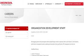 Dibuka Karir Honda, Posisi OD-Legal-Purchasing Staff