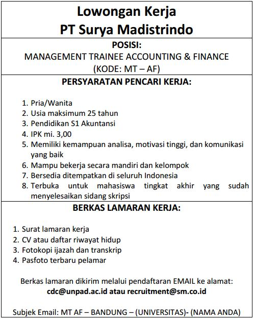 Anak Pt Gudang Garam Tbk Rekrut Management Trainee Accounting